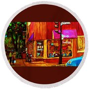 Beautys Luncheonette  Round Beach Towel