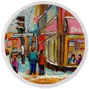 Beautys Luncheonette Montreal Round Beach Towel