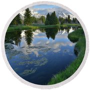 Beaver Dam At Schwabacher Landing Round Beach Towel