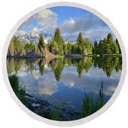 Beaver Dam Reflection In Grand Teton Np Round Beach Towel