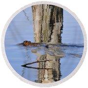 Beaver In Motion Round Beach Towel