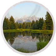 Beaver Pond At Schwabacher Landing Round Beach Towel