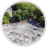 Becan Pyramids Looking Down Round Beach Towel