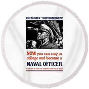 Become A Naval Officer Round Beach Towel