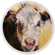 Bed Head Cow Round Beach Towel