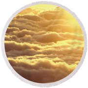 Bed Of Puffy Clouds Round Beach Towel