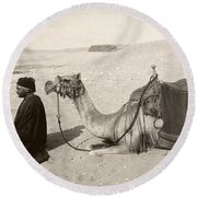 Bedouin At Prayer Round Beach Towel