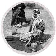 Bedouin Falconer, C1910 Round Beach Towel