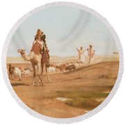 Bedouin In The Desert Round Beach Towel