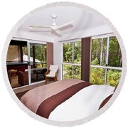 Bedroom With Brown And Cream Theme Round Beach Towel