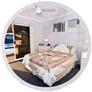 Bedroom With River View Round Beach Towel