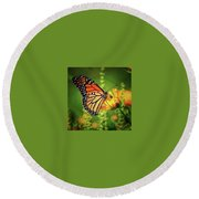 Bee And Butterfly Round Beach Towel