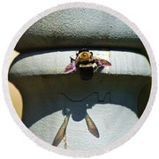 Bee And My Shadow Round Beach Towel