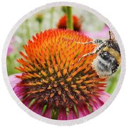 Bee And Pink Flower Round Beach Towel