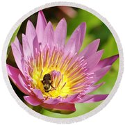 Bee And The Lily Round Beach Towel