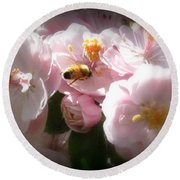 Bee Blossoms 2 Round Beach Towel