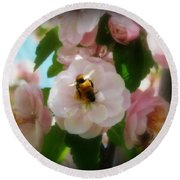 Bee Blossoms Round Beach Towel