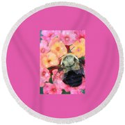 Bee Card Round Beach Towel