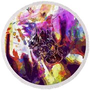Bee Close Insect Flower  Round Beach Towel