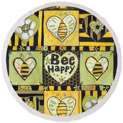 Bee Happy Round Beach Towel by Jen Norton
