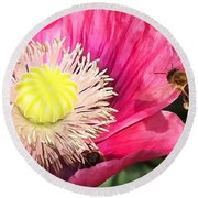 Bee In A Flower Round Beach Towel
