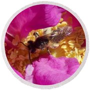 Bee In The Rugosa Round Beach Towel