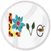 Bee Love Round Beach Towel