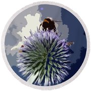 Bee On An Allium Round Beach Towel