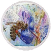 Bee On Blue Lupin Blossom. Round Beach Towel