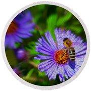 Bee On Lavender Flower Round Beach Towel