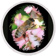 Bee On Pink Flower With Swirly Framing Round Beach Towel