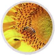 Bee On Sunflower Summer Nature Scene Round Beach Towel