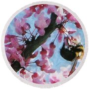 Bee To The Blossom Round Beach Towel