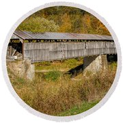 Beech Fork Or Mooresville Covered Bridge Round Beach Towel