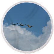 Beechcraft T-34 Mentor Airplane Trio 4 Round Beach Towel