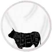 Beef Cuts Shown On The Side Of A Cow. Round Beach Towel