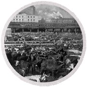 Beef Industry, C1903 Round Beach Towel