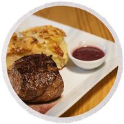 Beef Steak With Potato And Cheese Bake Round Beach Towel