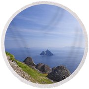 Beehive Stone Huts, Skellig Michael County Kerry Ireland Round Beach Towel