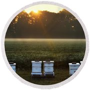Beehives At Sunrise Round Beach Towel