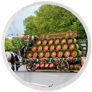 Beer Barrels On Cart Round Beach Towel