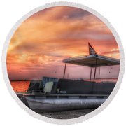 Beer Can Island Sunset Round Beach Towel