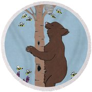 Bees And The Bear Round Beach Towel