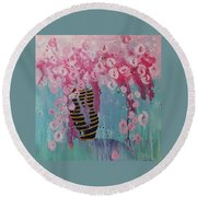 Bees In Pink Round Beach Towel