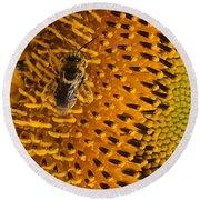 Bee's Sunflower Round Beach Towel