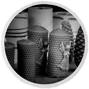 Beeswax Candles With Angels And Pinecones Round Beach Towel