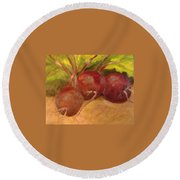Beet It Round Beach Towel