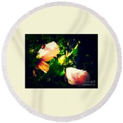 Beetle Hanging Out With Hibiscus Flowers Round Beach Towel