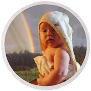 Before She Smiled Or Mona Little Round Beach Towel