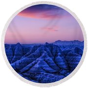 Before Sunrise, Badlands National Park Round Beach Towel
